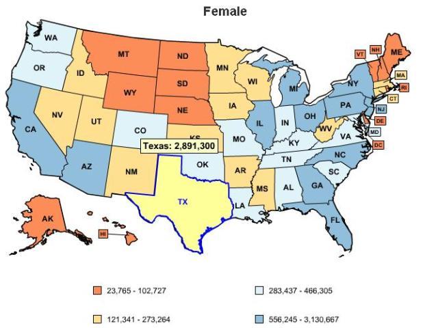 Number of uninsured women in Texas