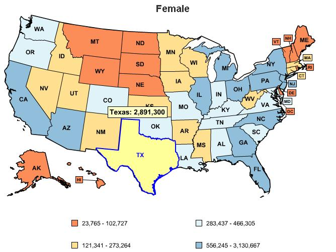 Number of uninsured women in Texas
