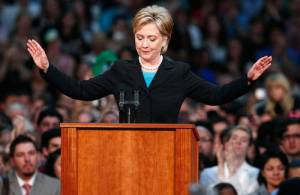 Hillary Clinton concedes (note short hair)