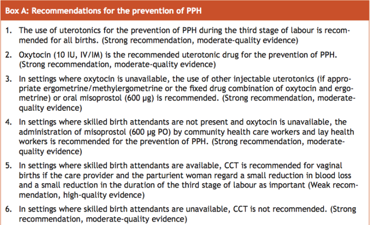 WHO recommendations for prevention of post partum hemorrhage