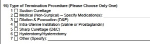 Most recent reporting form (2013) for induced abortion in Texas. No mention of methods used to treat ectopic pregnancies.