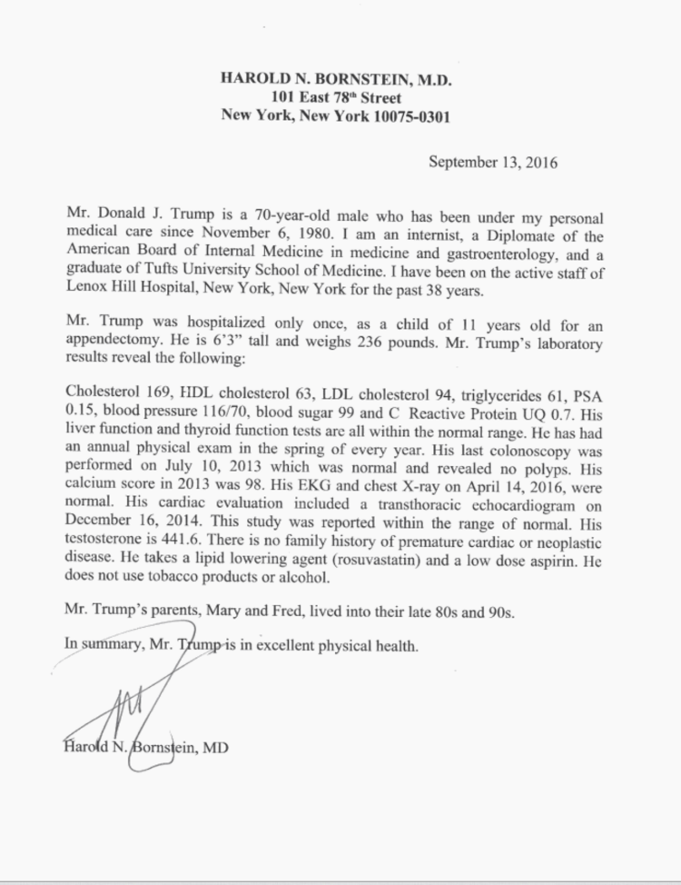 Trump's latest medical letter