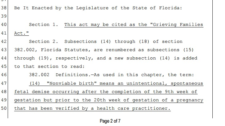 florida issuing certificates of nonviable birth concerns me. here's ...
