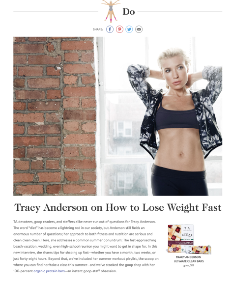 GOOP and Tracy Anderson promote anorexia lite for fast weightloss