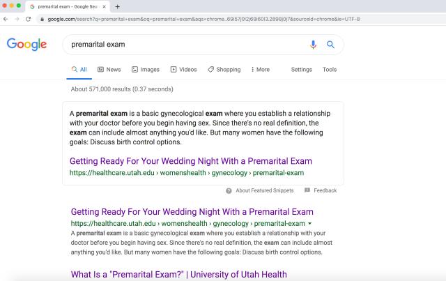 UTah premarital exam google